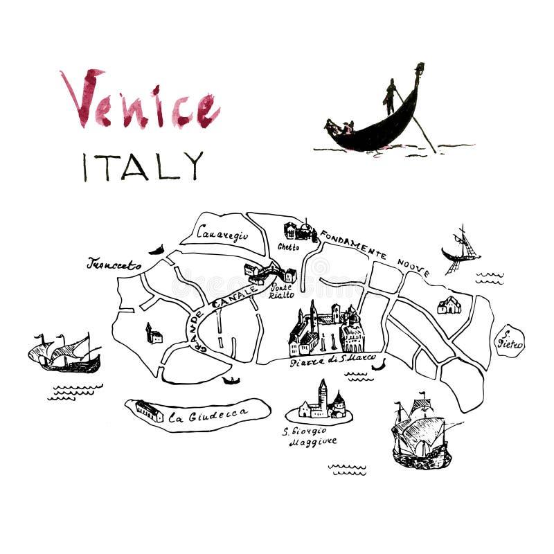 Rysunek narysowany ręcznie na mapie weneckiej Pływająca gondola z gondolierem na kanale Czarny szkic pióra atramentu Architektura ilustracja wektor