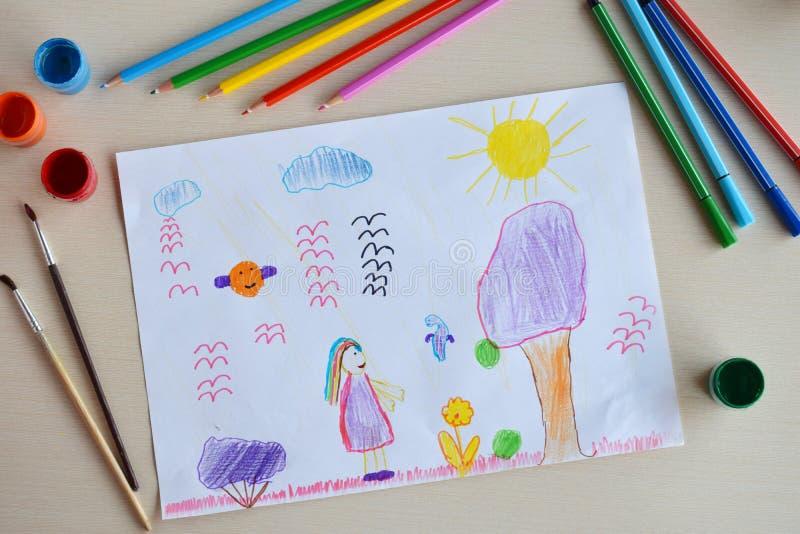 Rysunek podrzędny:Świat magii Fantasy Nietypowe kolorowe kwiaty, drzewa, wróżki i zwierzęta obraz royalty free