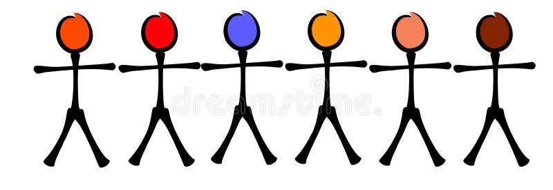 rysunek równości rasowe patyk ilustracja wektor