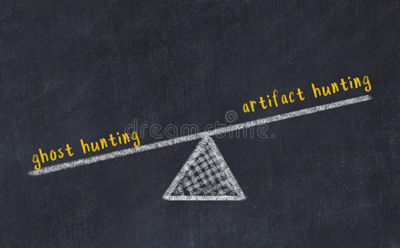 Rysunek skal tablicy kredowej Koncepcja równowagi między polowaniem na widmo a polowaniem na artefakty obraz royalty free