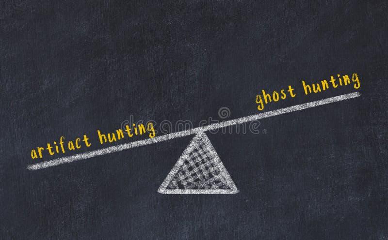 Rysunek skal tablicy kredowej Koncepcja równowagi między polowaniem na widmo a polowaniem na artefakty zdjęcie royalty free