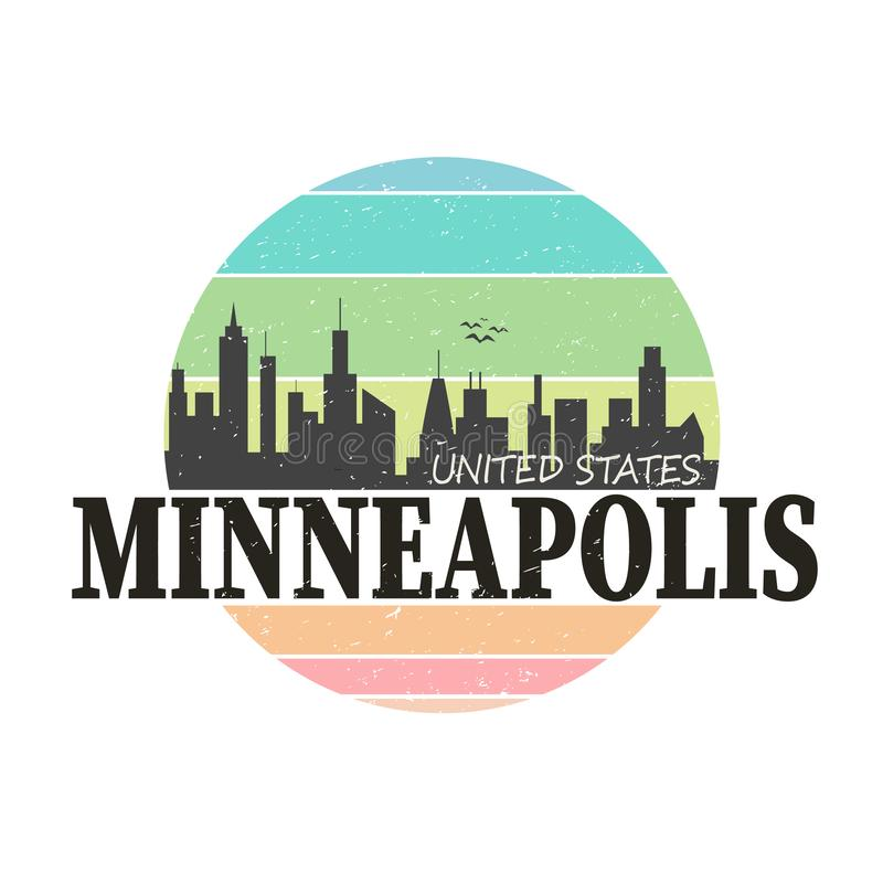 Rysunek wektorowy z logo marki Minneapolis Destination royalty ilustracja