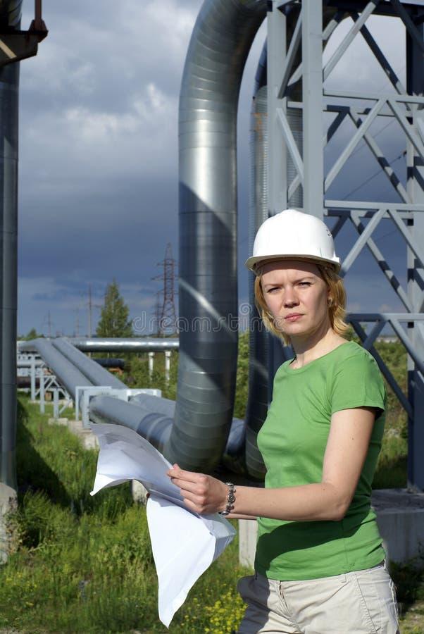 rysunki architektów inżyniera kobieta zdjęcie stock