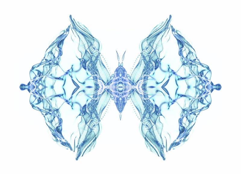 rysunki projektowe i wykonawcze abstrakcyjne Błękitny motyl nad bielem royalty ilustracja