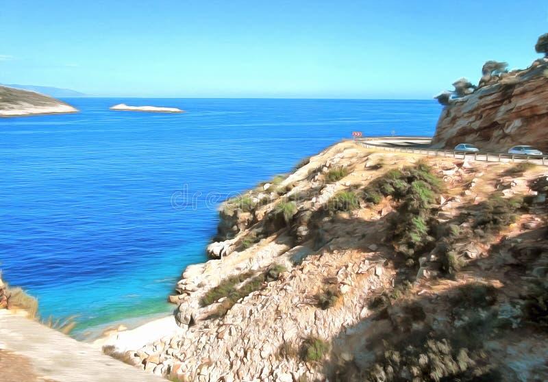 Rysunkowa akwarela Abstrakcjonistyczny morze krajobraz zdjęcia royalty free