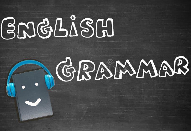 Rysunkowa angielska gramatyka nad blackboard obraz royalty free