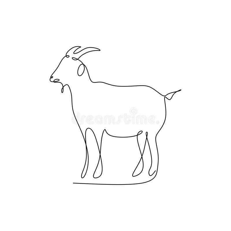 rysunkowa ciągła linia kózka ilustracja wektor