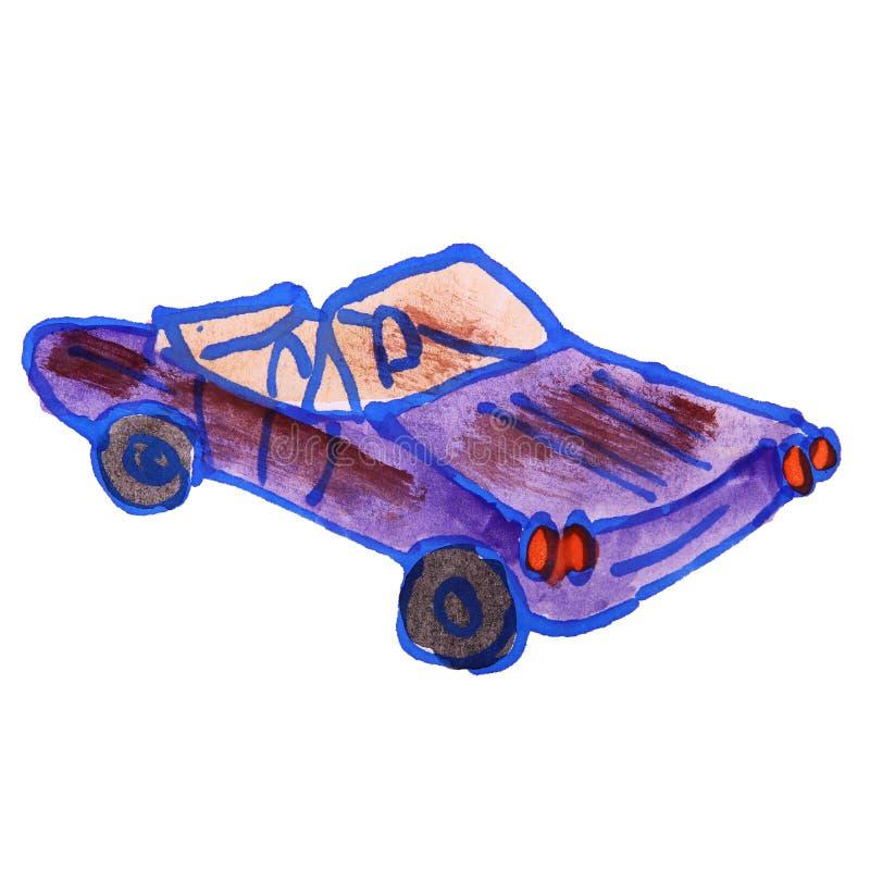 Rysunkowa kreskówka żartuje akwarela kabriolet na białym backgroun ilustracji