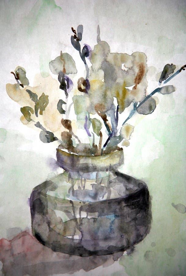 rysunkowa kwiatów wazy wierzba royalty ilustracja