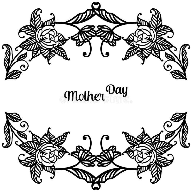 Rysunkowa kwiat rama, gałąź liść, literowanie macierzysty dzień dla tapety kartka z pozdrowieniami, wektor royalty ilustracja