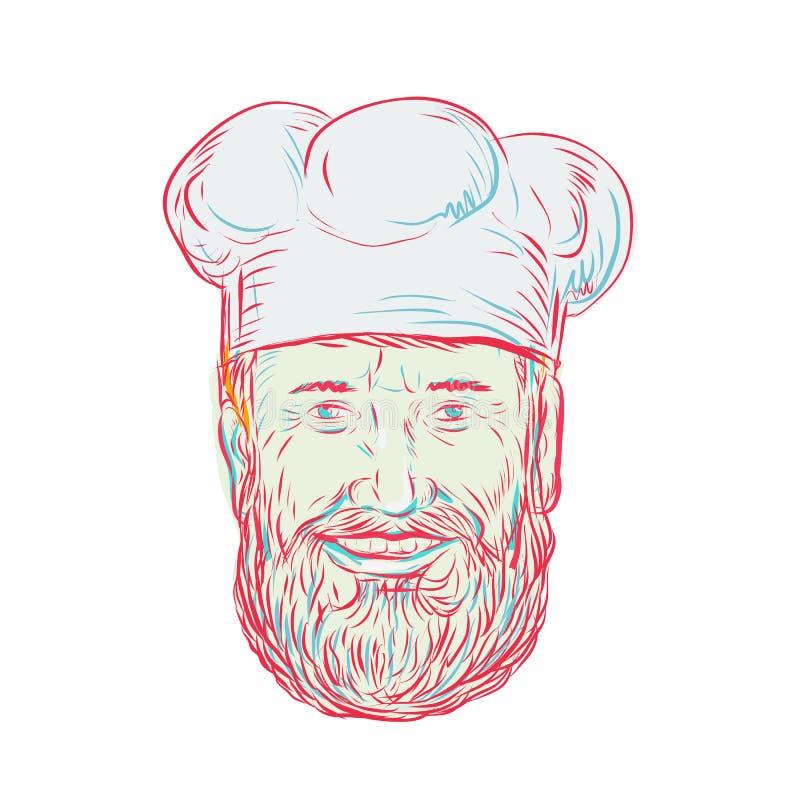 Rysunkowa nakreślenie stylu ilustracja modnisia piekarz, kucharz, szef kuchni, karmowy pracownik jest ubranym brodę przeglądać od ilustracji