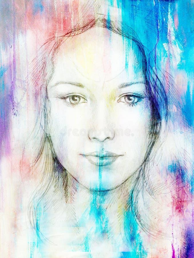 Rysunkowa portret młoda kobieta z ornamentem na twarzy, koloru obraz na abstrakcjonistycznym tle, komputerowy kolaż Kontakt wzrok royalty ilustracja