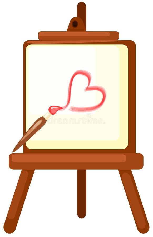 rysunkowa sztalugi serca czerwień ilustracji
