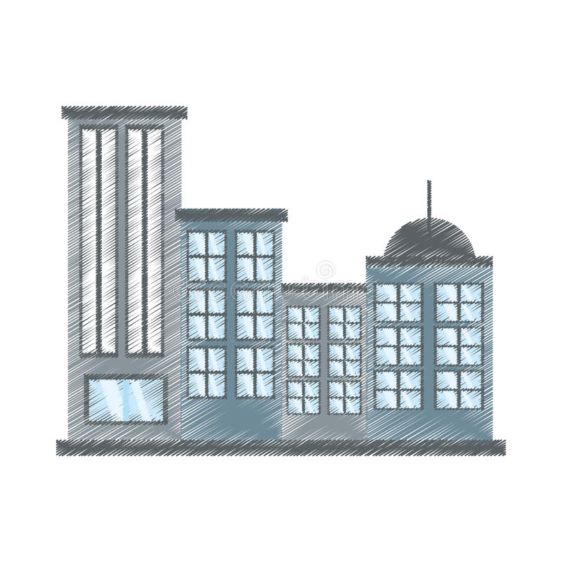 rysunkowego budynku nowożytny miastowy royalty ilustracja