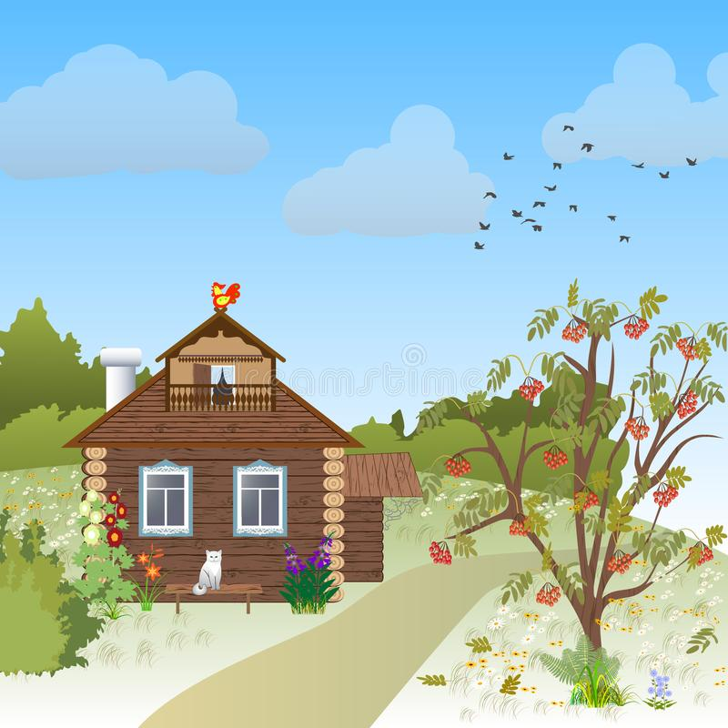 rysunkowego domu ilustracyjna wiejska nakreślenia wioska royalty ilustracja