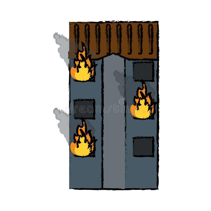 Rysunkowego pożarniczego budynku mieszkaniowy nagły wypadek royalty ilustracja