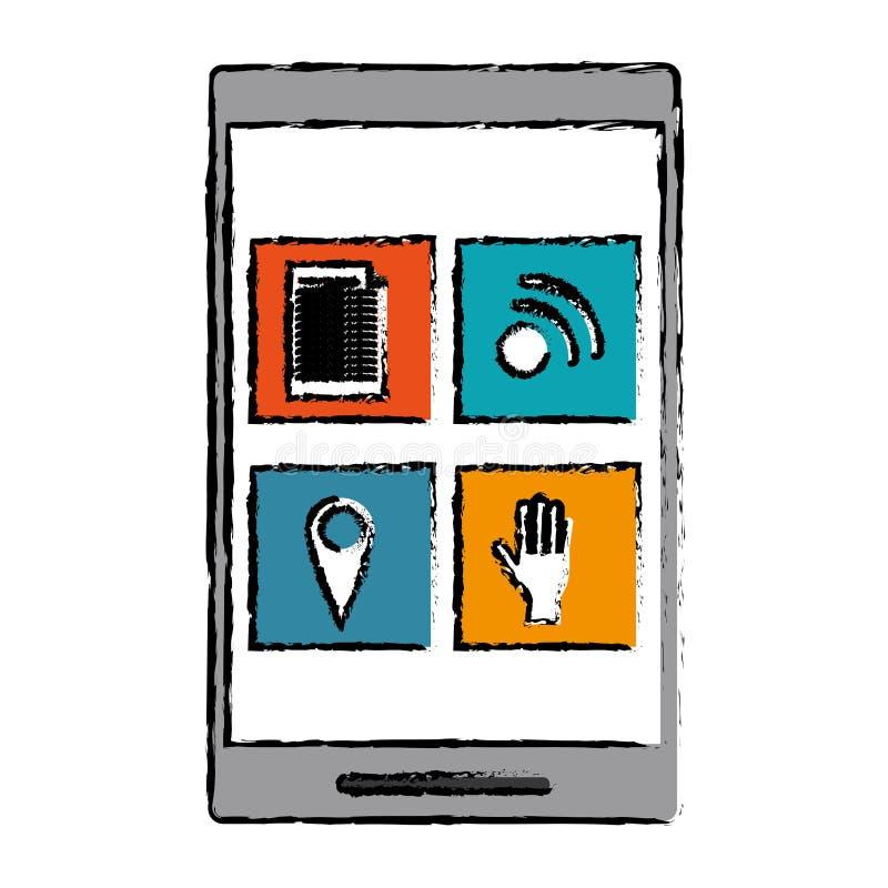 Rysunkowego smartphone ogólnospołeczny medialny związek royalty ilustracja