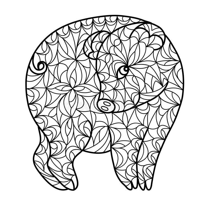 Rysunkowego zentangle śliczna kokieteryjna świnia royalty ilustracja