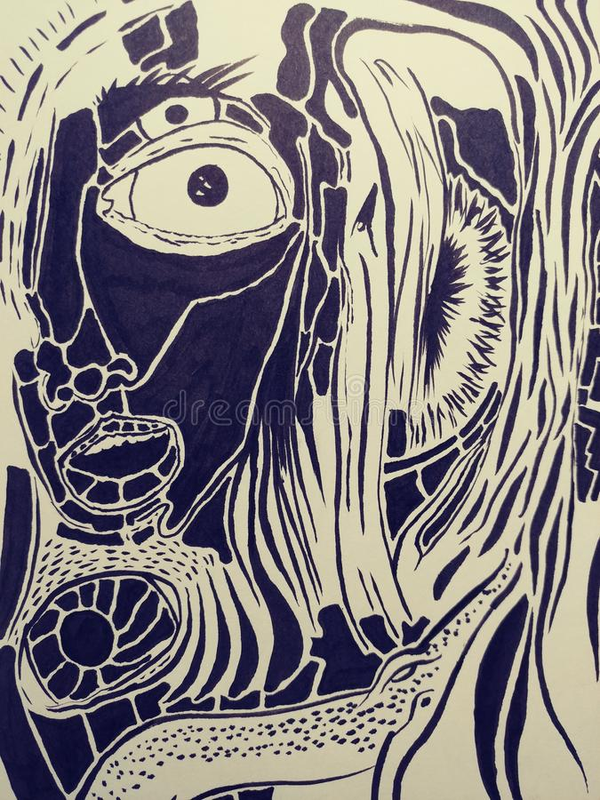 Rysunkowej ilustracyjnej trippy psychadellic nakreślenie sztuki przypadkowy chłodno pics royalty ilustracja