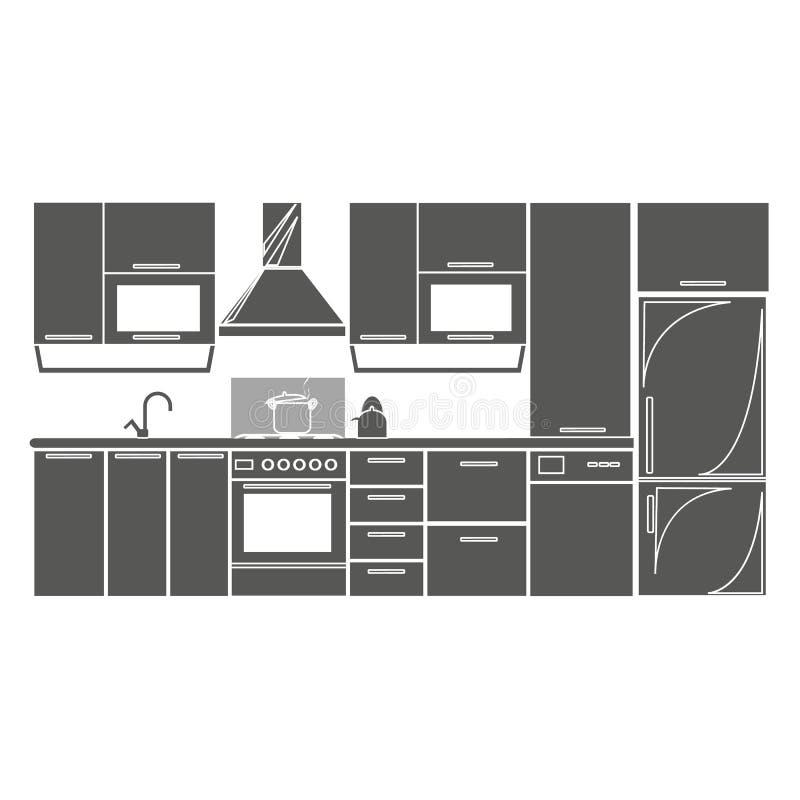 Rysunkowej kuchennej wewnętrznej plan ikony wektorowa ilustracja eps10 Odosobnionego odznaka kuchennego projekta płaski projekt d ilustracji