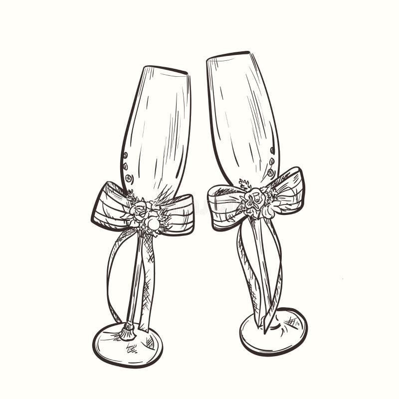 Rysunkowi ślubni wineglasses z łękiem zdjęcia royalty free