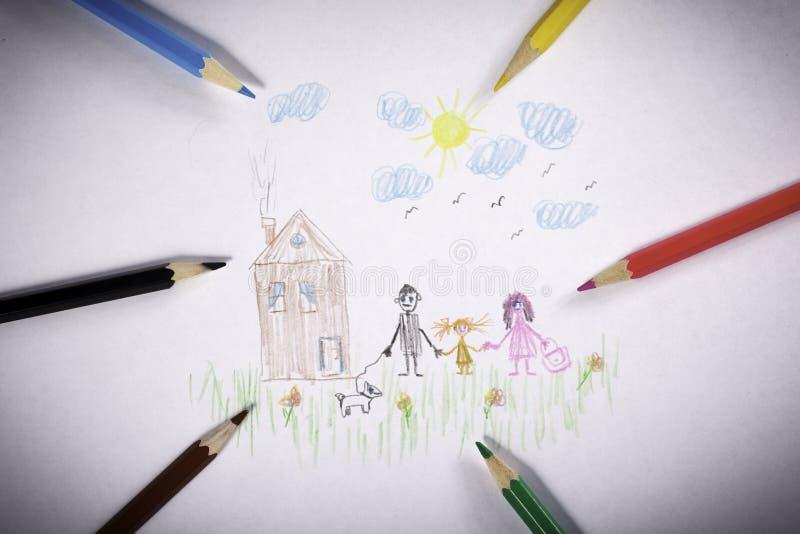 Rysunkowi ołówki rodzinni zdjęcia royalty free