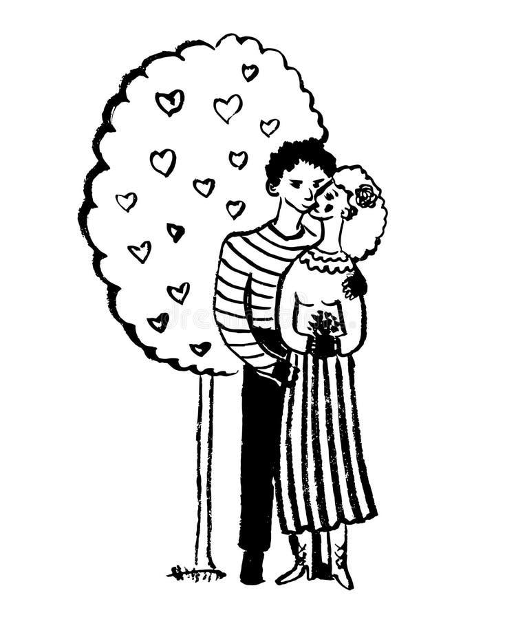 Rysunkowi obrazka dwa kochankowie ściska i całuje pod drzewem z sercami, nakreślenie, pociągany ręcznie komiczna wektorowa ilustr ilustracji