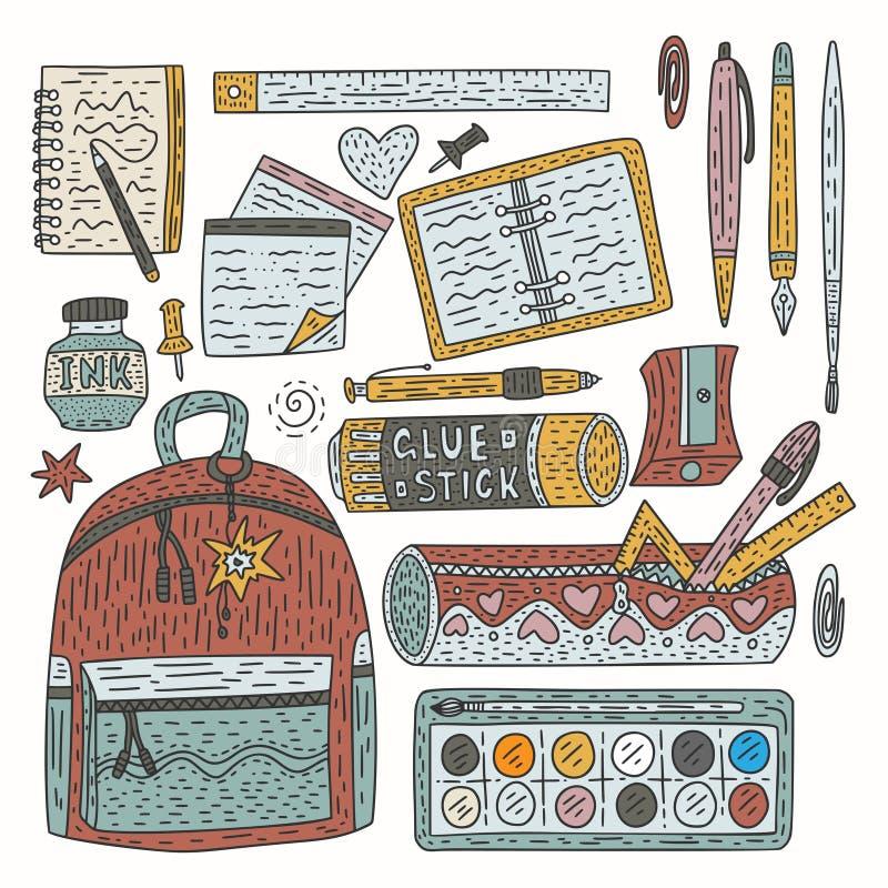 Rysunkowy akcesoria koloru wektoru set Doodle rysunku dostawy dla szkoły i biura royalty ilustracja