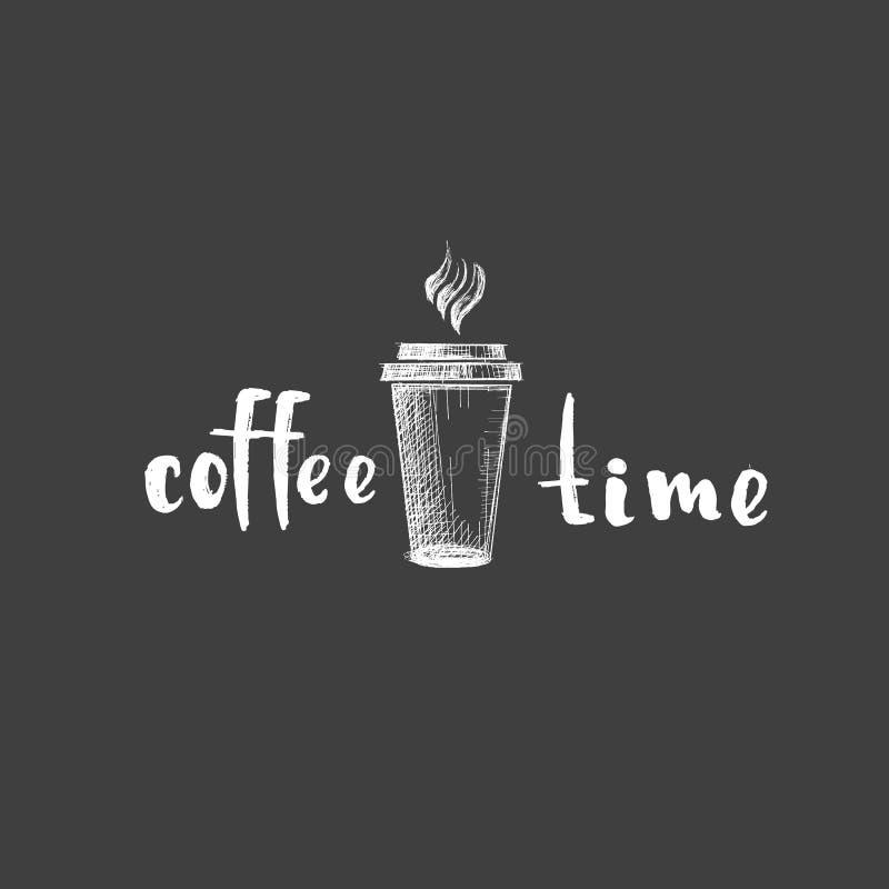 Rysunkowy biały wektorowy kawowy cukierniany napój pije restauracyjnego loga cappuccino latte słowa kaligrafii liniowego czerń na ilustracja wektor