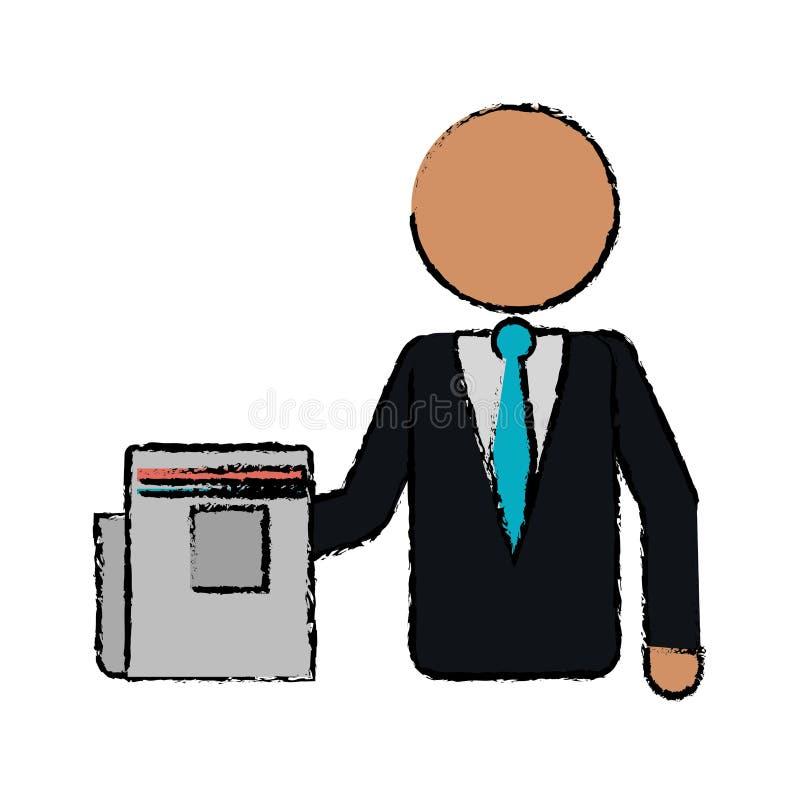 Rysunkowy biznesowego mężczyzna dokumentu pracy biuro ilustracja wektor