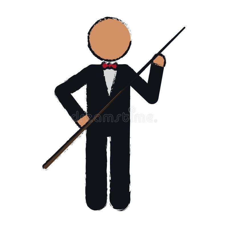 Rysunkowy charakteru bilardowego gracza smoking ilustracja wektor