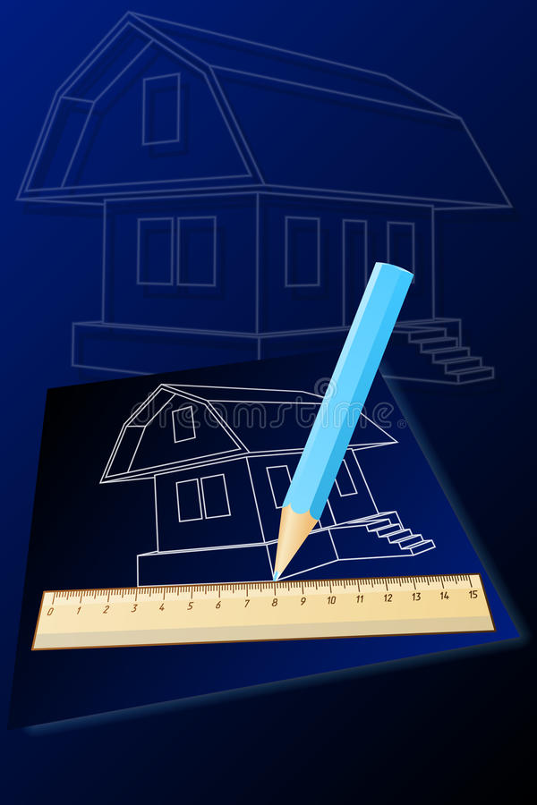 Download Rysunkowy dom ilustracja wektor. Obraz złożonej z projekt - 22711218