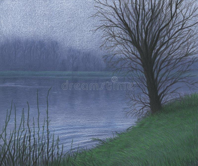rysunkowy jeziorny drzewo obraz royalty free