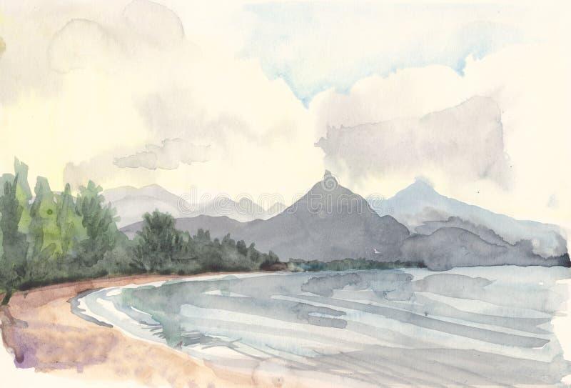 Rysunkowy jezioro ilustracja wektor