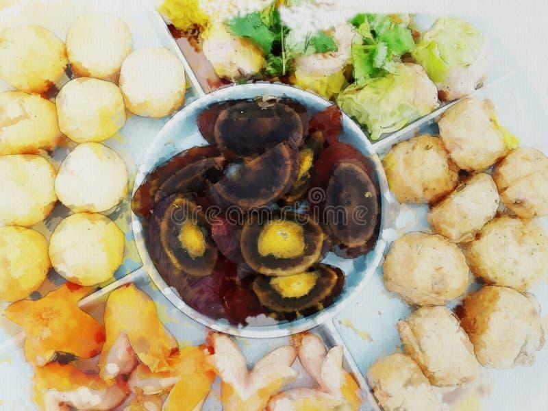 Rysunkowy kolor Chiński jedzenie styl ilustracja wektor