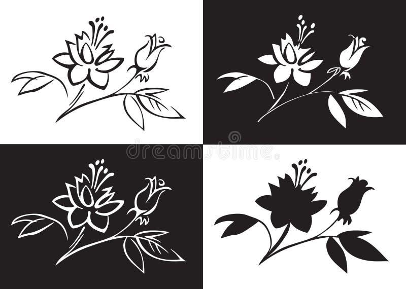 Rysunkowy kwiat wzrastał ilustracji