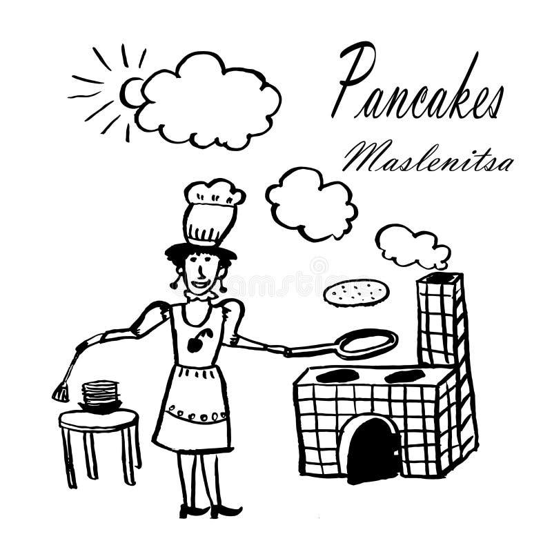 Rysunkowy obrazek młoda kobieta z smaży niecką w s szefa kuchni ` narządzania kapeluszowych blinach na otwierał ogień ilustracja wektor