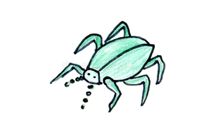 Rysunkowy onf zielony pająk na bielu zdjęcia royalty free