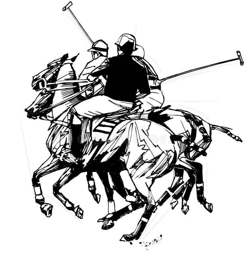 rysunkowy ręki graczów polo ilustracji