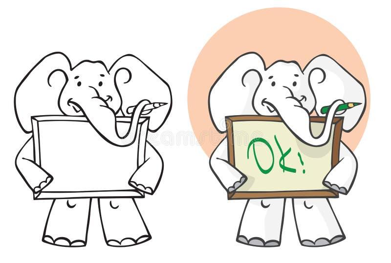 Rysunkowy słoń z ołówkiem i pustym obrazkiem ilustracja wektor
