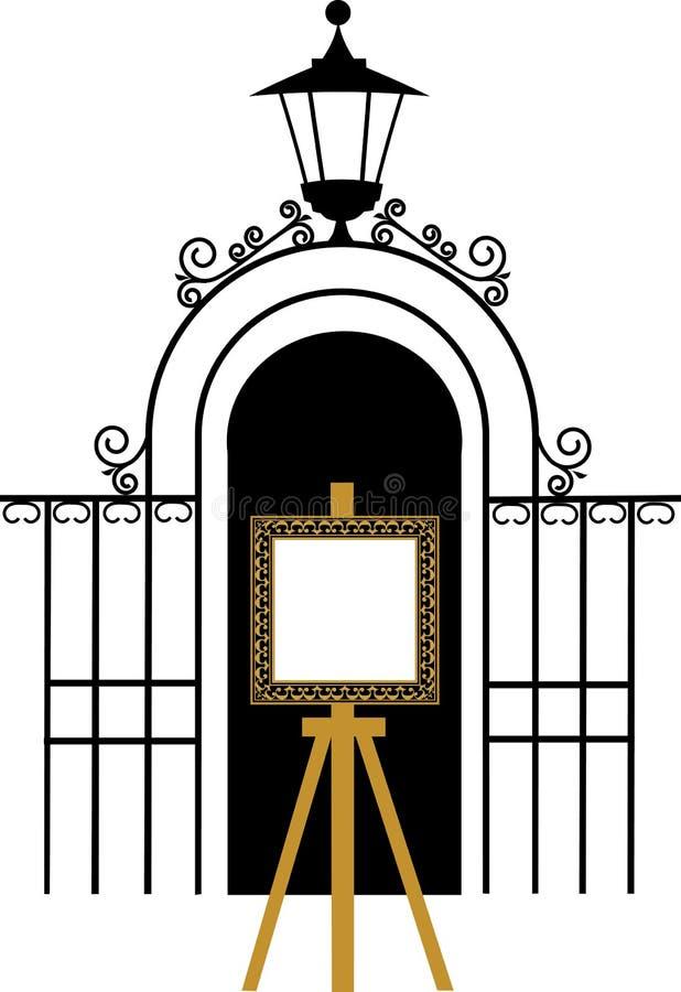 rysunkowy sztalugi bramy park rocznik ilustracji