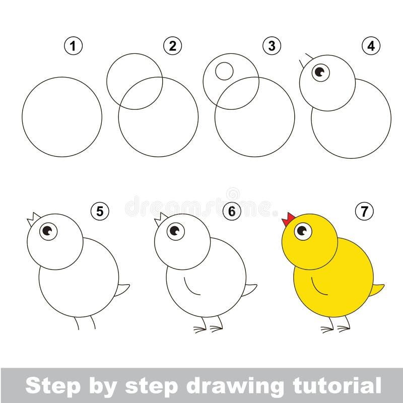 Rysunkowy tutorial Dlaczego rysować śmiesznego kurczaka royalty ilustracja