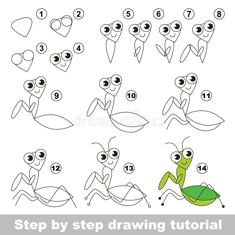Rysunkowy tutorial Modliszka ilustracja wektor