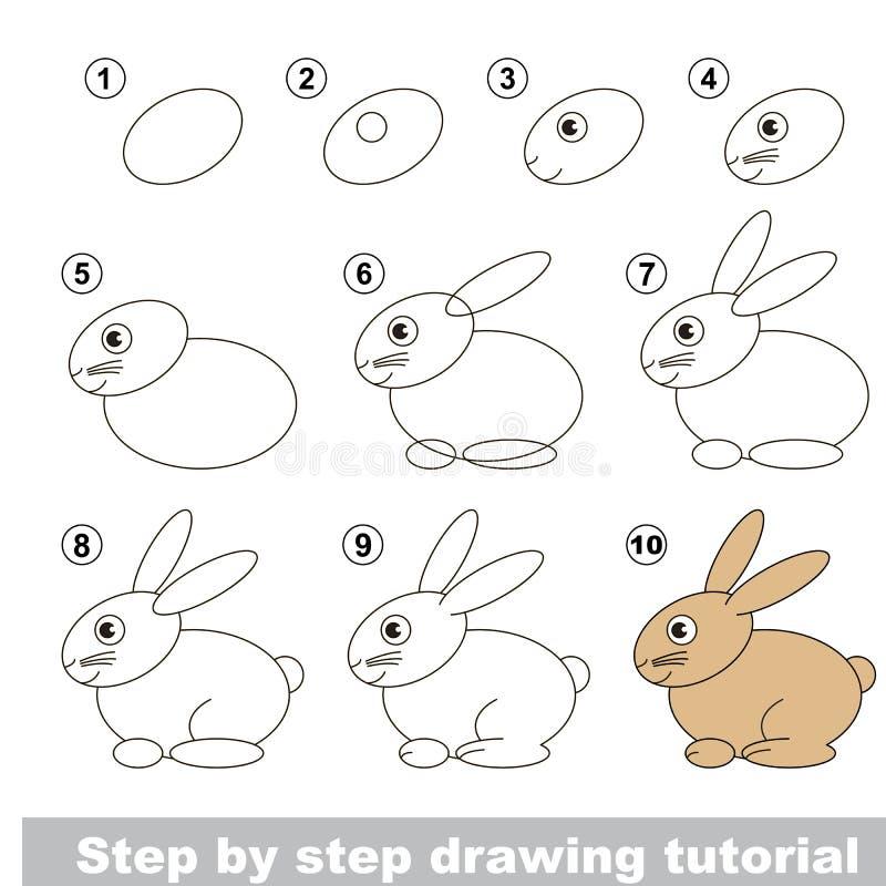 Rysunkowy tutorial zając ilustracja wektor