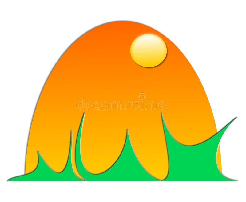 Rysunkowy wektorowy słońce, zmierzch i wschód słońca, royalty ilustracja