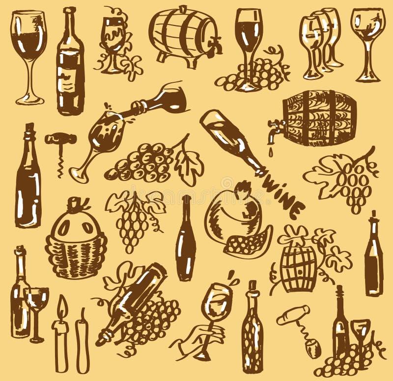 Rysunkowy wino ilustracja wektor