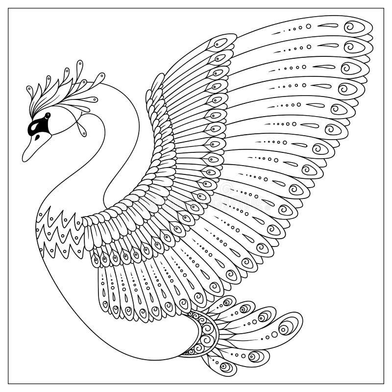 Rysunkowy zentangle łabędź dla barwić stronę royalty ilustracja