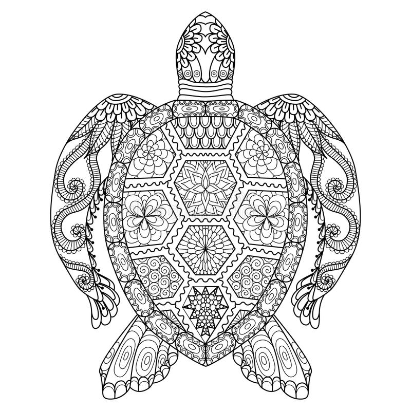 Rysunkowy zentangle żółw dla barwić stronę, koszulowego projekta skutek, loga, tatuaż i dekorację,