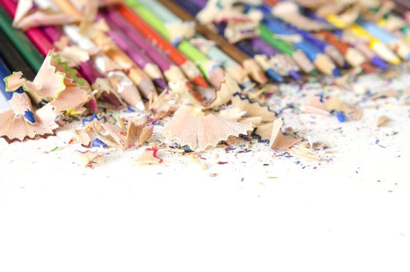 Rysunkowych narzędzi tło Udział kolorowa ołówek rama z trociny i goleniami zdjęcie stock