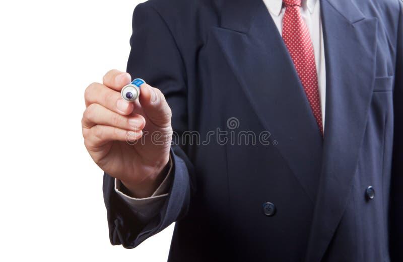 rysunku biznesowy mężczyzna coś fotografia stock